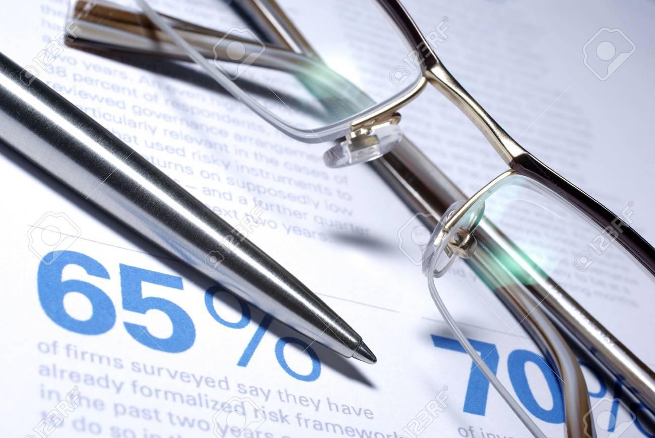Glasses and pen macro closeup. Business Concept. Stock Photo - 3736886
