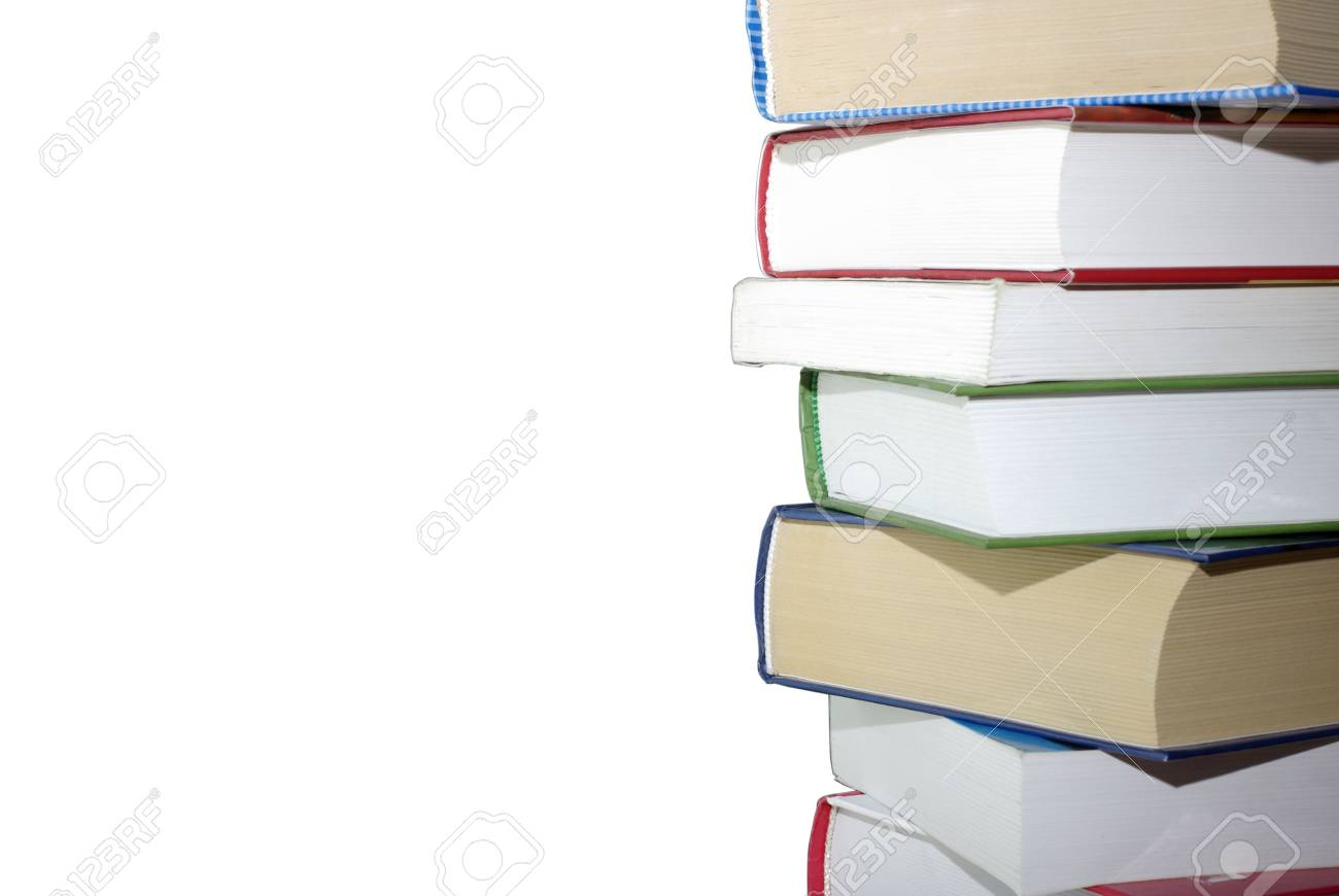 Stack of different books isolated on white background. Clipping path. Stock Photo - 3806209
