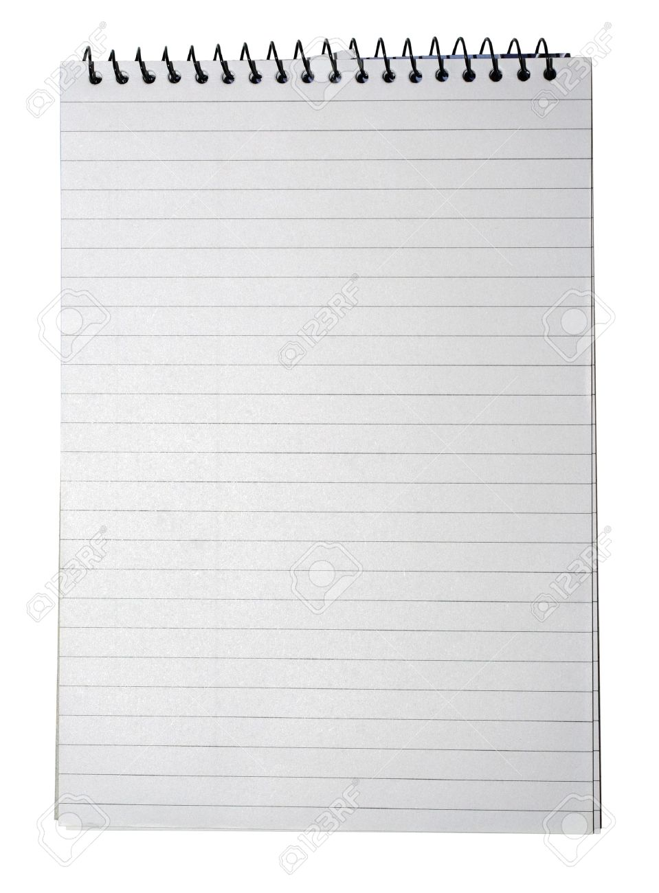 notebook with striped paper binder and empty page for your design or text isolated on