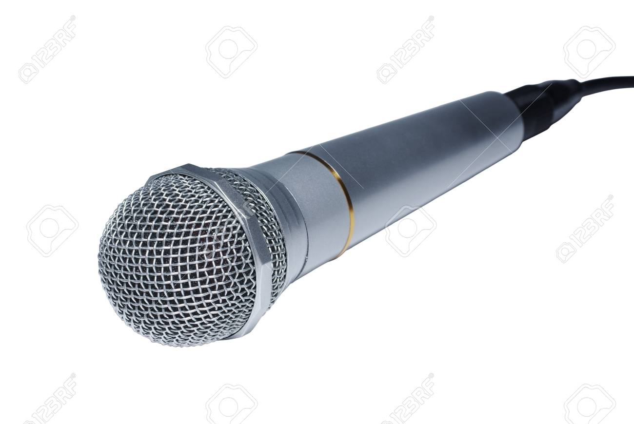 Silver audio microphone close up isolated on white background. Stock Photo - 4023462