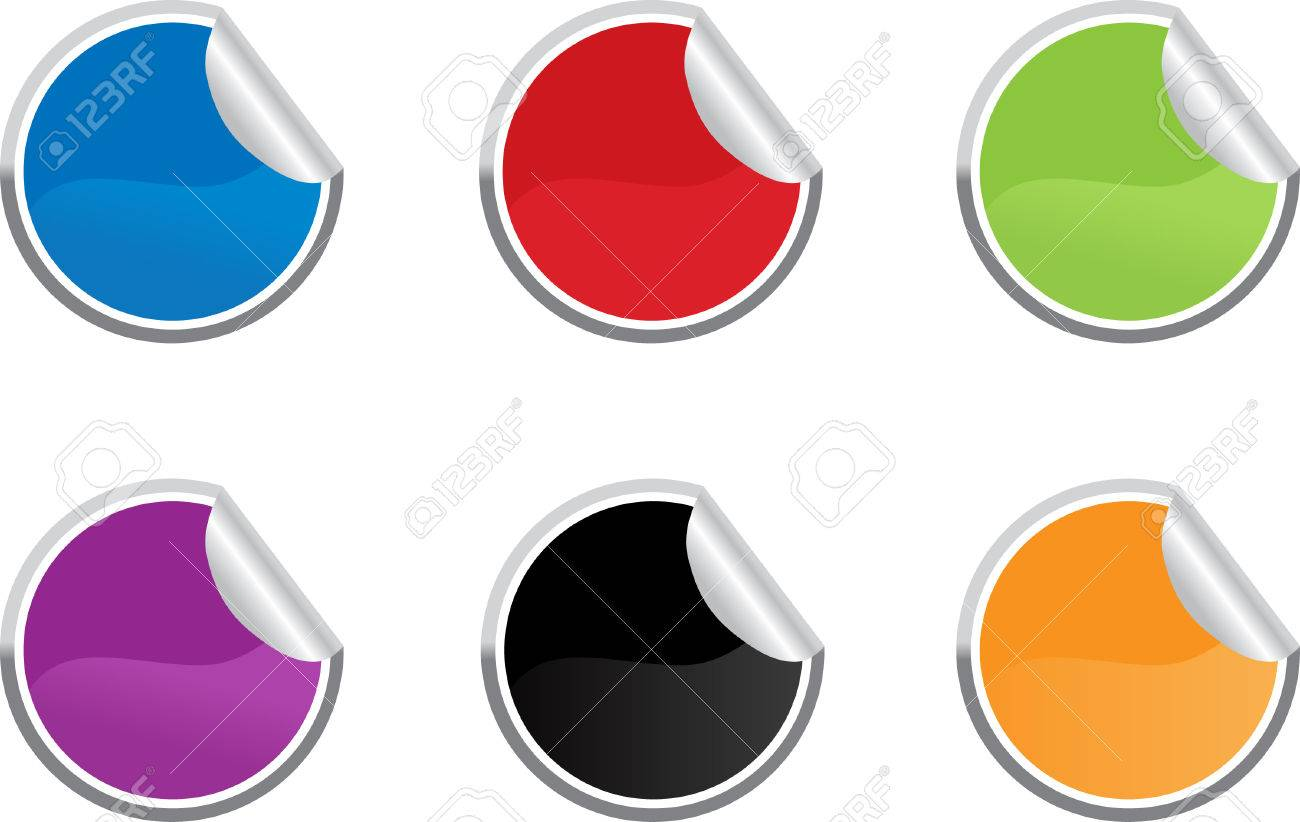 Six colored vector sticky label for price or another design. Stock Vector - 4144267