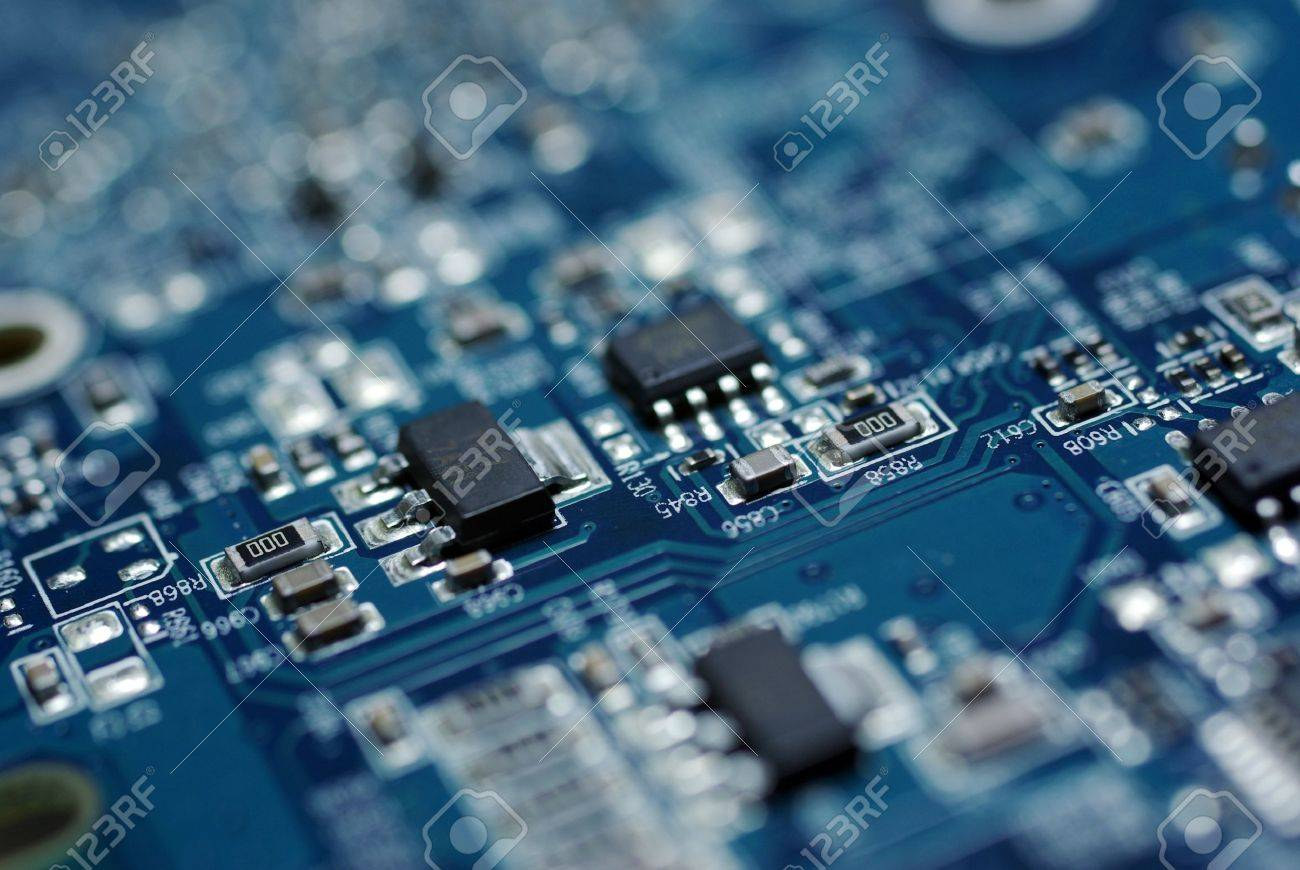 Close up photo of blue PC circuit board. Abstract technology background. Stock Photo - 4306320