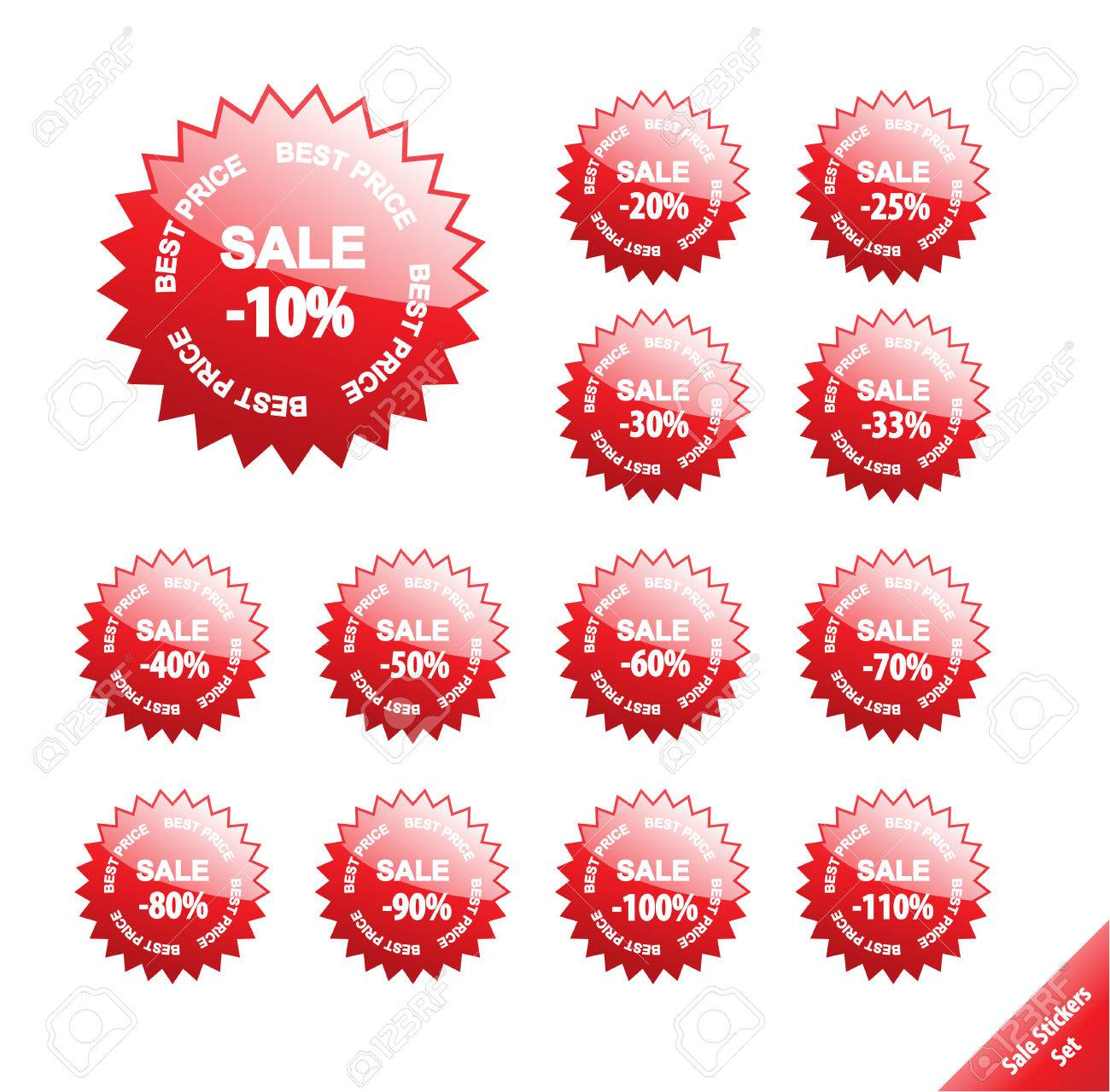 Collection of glossy marketing elements. Vector discount labels. Aqua web 2.0 style. Stock Vector - 4611493