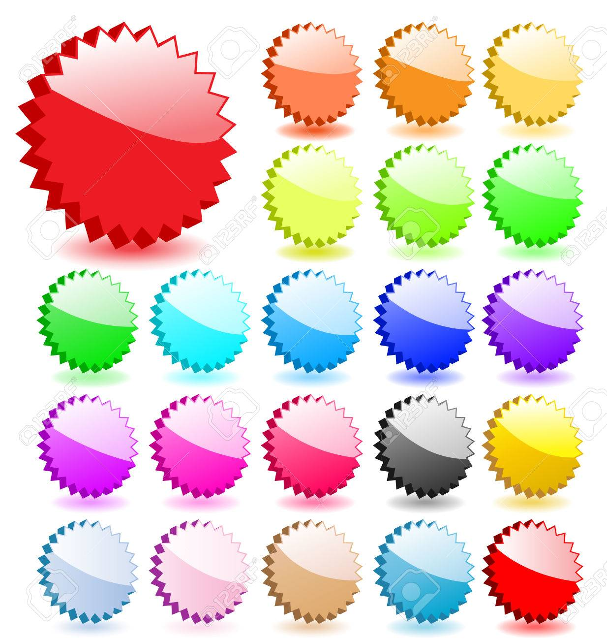 Set of 3D vector stars with shadows. Perfect for icons or adding text. Stock Vector - 4997569
