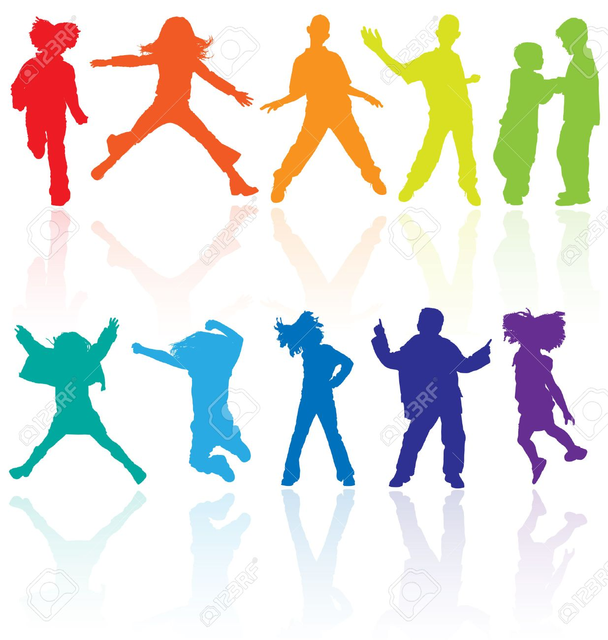 Set of colored dancing, jumping and posing teenagers vector silhouettes with reflection. Stock Vector - 5081393