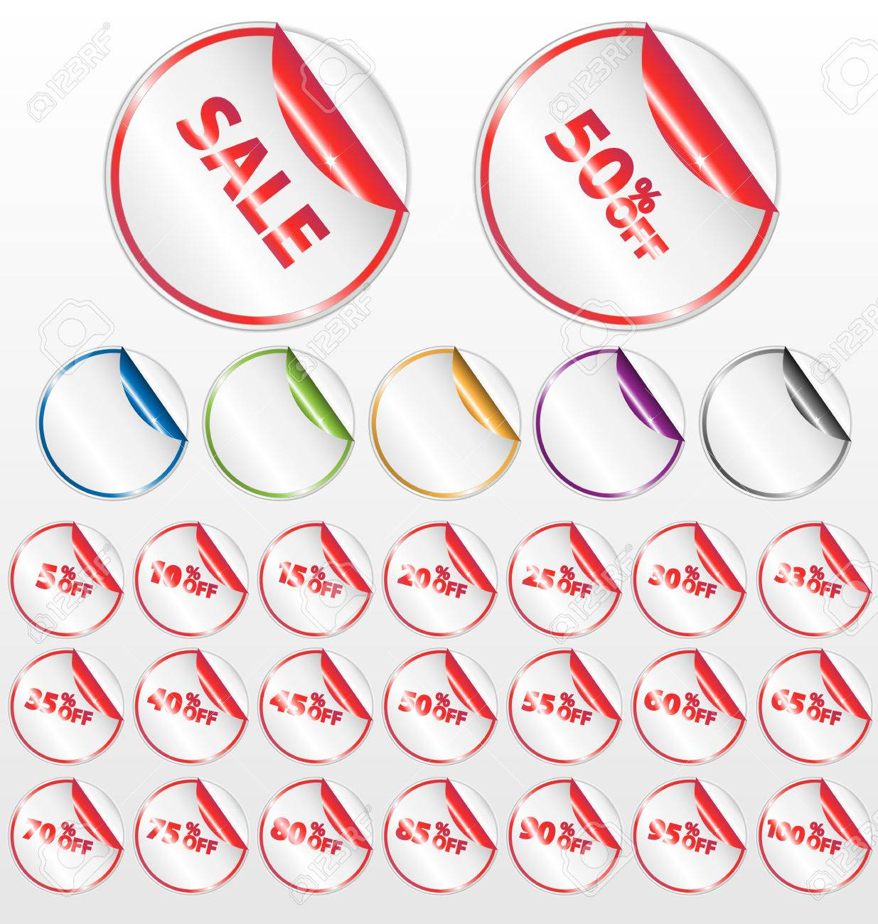 set of shiny retail icons with peel effect and discount percentages. Stock Vector - 6245083