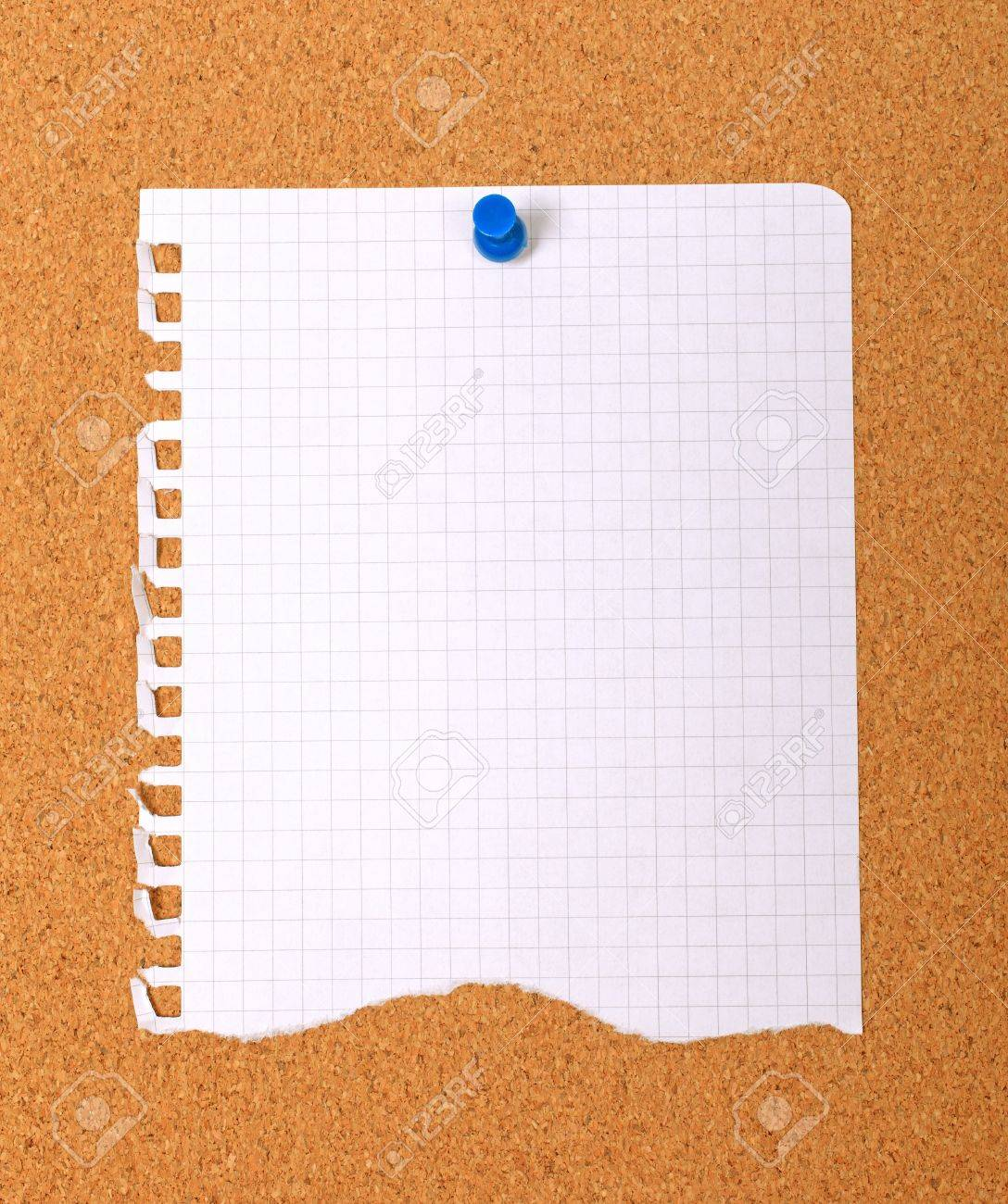 Torn note paper attached with blue pin to cork board, good as background or backdrop. Stock Photo - 8827689