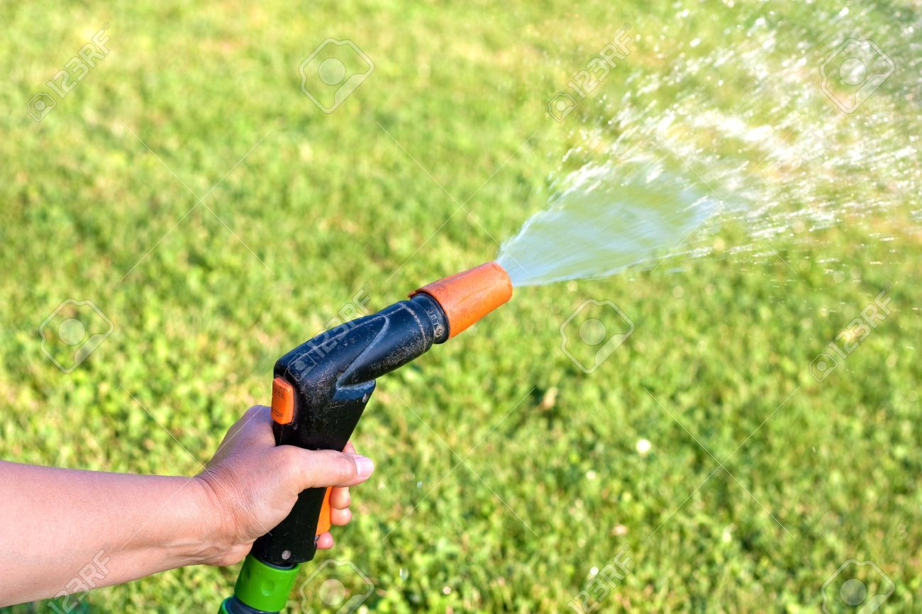 Female Hand Watering The Grass With A Garden Hose With Sprinkler Stock Photo Picture And Royalty Free Image Image 10898166