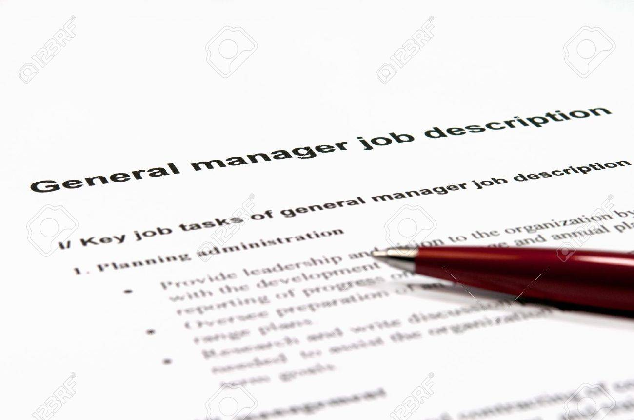 close up image of general manager job description stock photo close up image of general manager job description stock photo 10936679