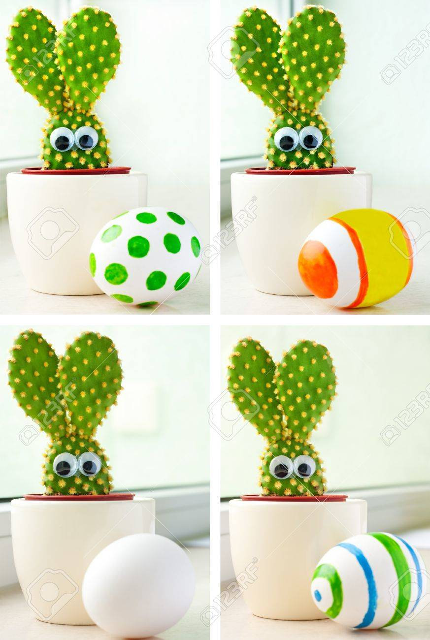 easter theme closeup of a small cactus in shape of a bunny and