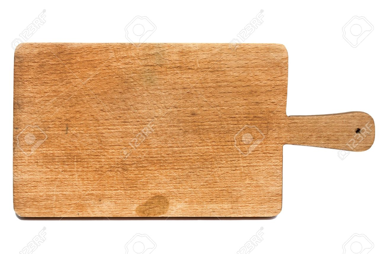 Old heavily used chopping or cutting board on white background Stock Photo - 13557407
