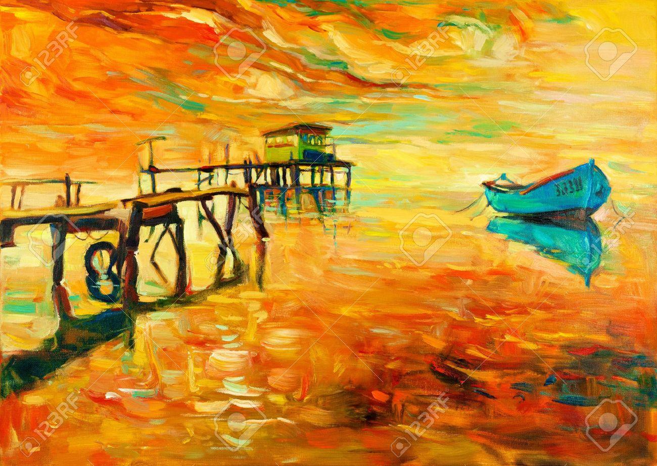 Rainbow landscape original oil pastel drawing - Oil Pastel Drawing Original Oil Painting Of Boat And Jetty Pier On Canvas