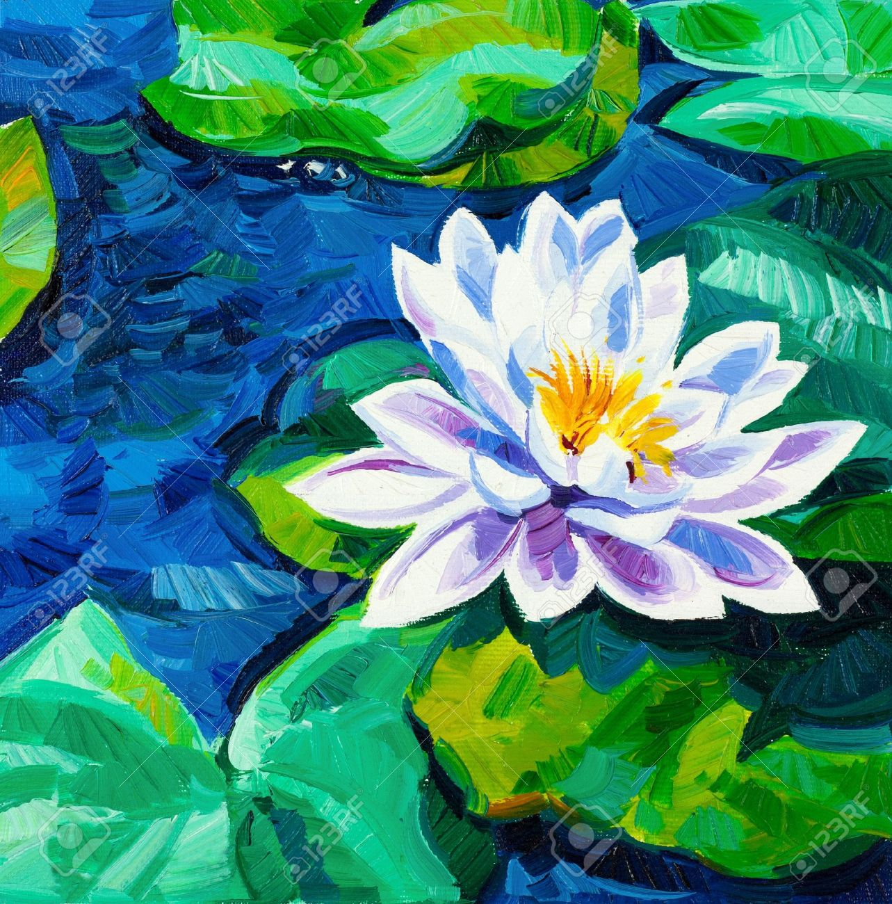 Original oil painting of beautiful water lilynymphaeaceae on original oil painting of beautiful water lilynymphaeaceae on canvasdern impressionism stock izmirmasajfo Gallery