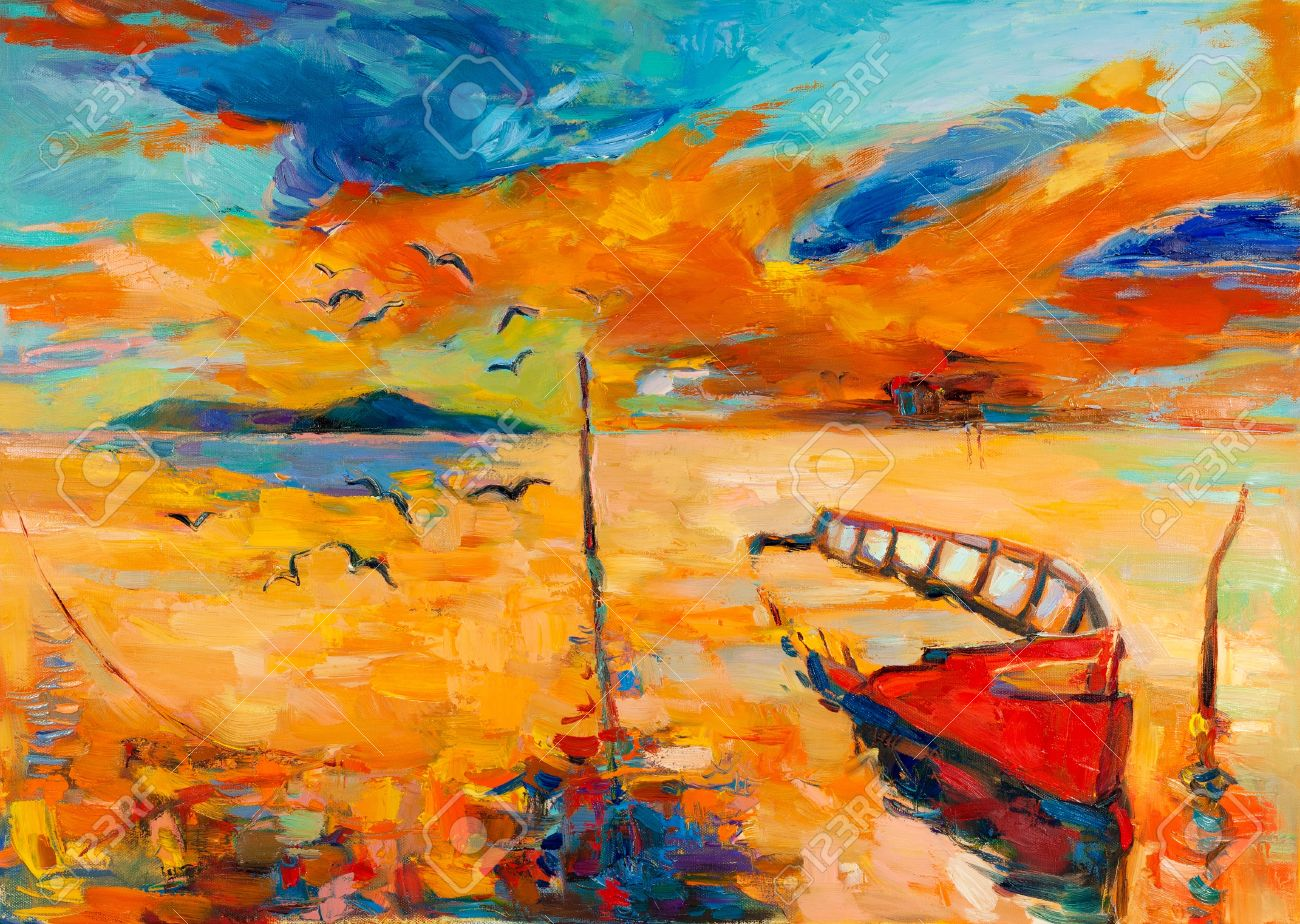 Original oil painting of boat and sea on canvas.Sunset over ocean.Modern Impressionism Stock Photo - 15209802