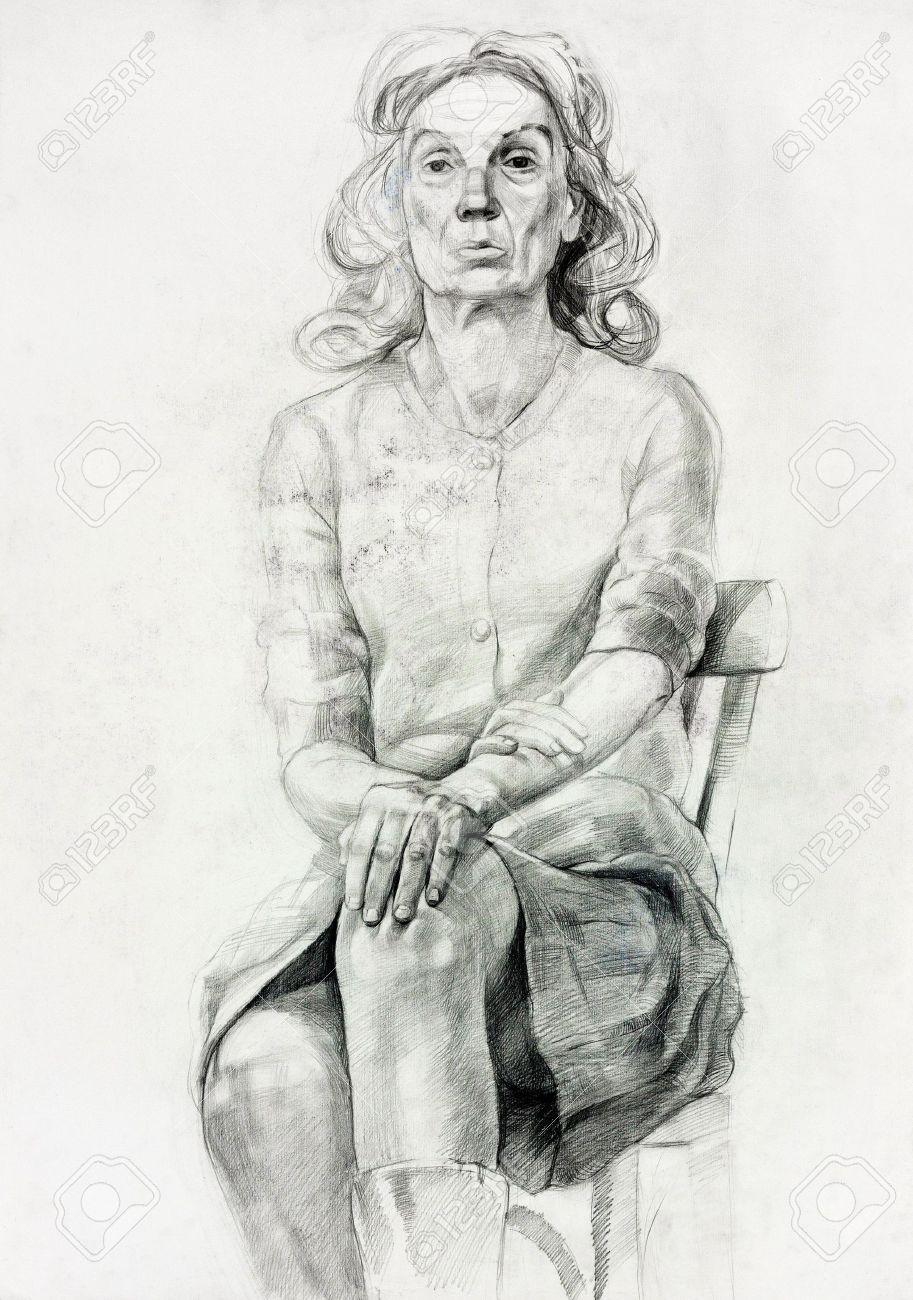 Originale Pastel Ou Le Fusain Dessin Et La Peinture à Main Levée Ou Travaillent Croquis D Une Femme Assise Dans Une Composition Chair Free