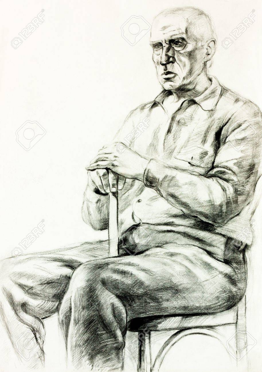 Man sitting in chair drawing - Original Pencil Or Drawing Charcoal And Hand Drawn Painting Or Working Sketch Of A Man
