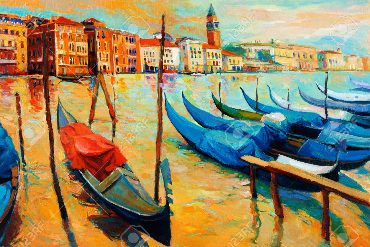 Original oil painting of beautiful venice italy on sunset gondolas and houses on canvas
