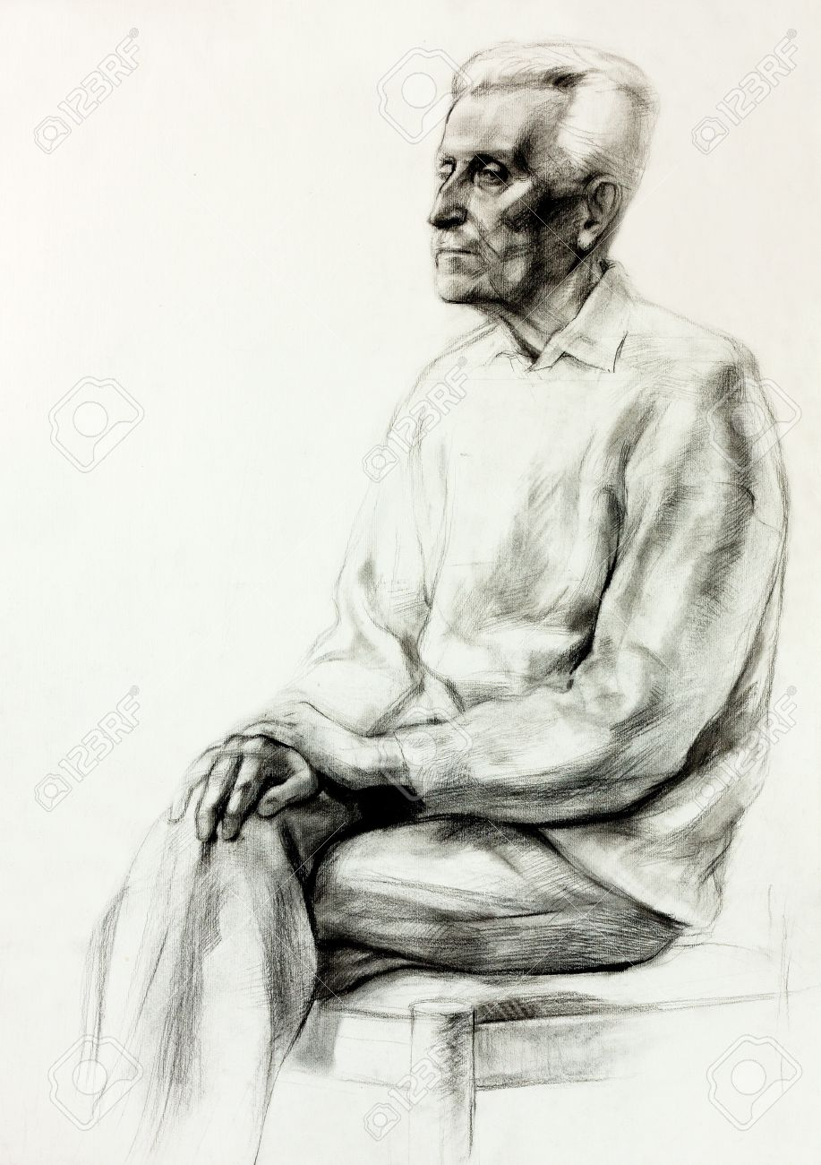 Original pencil or drawing charcoal and hand drawn painting or working sketch of a man