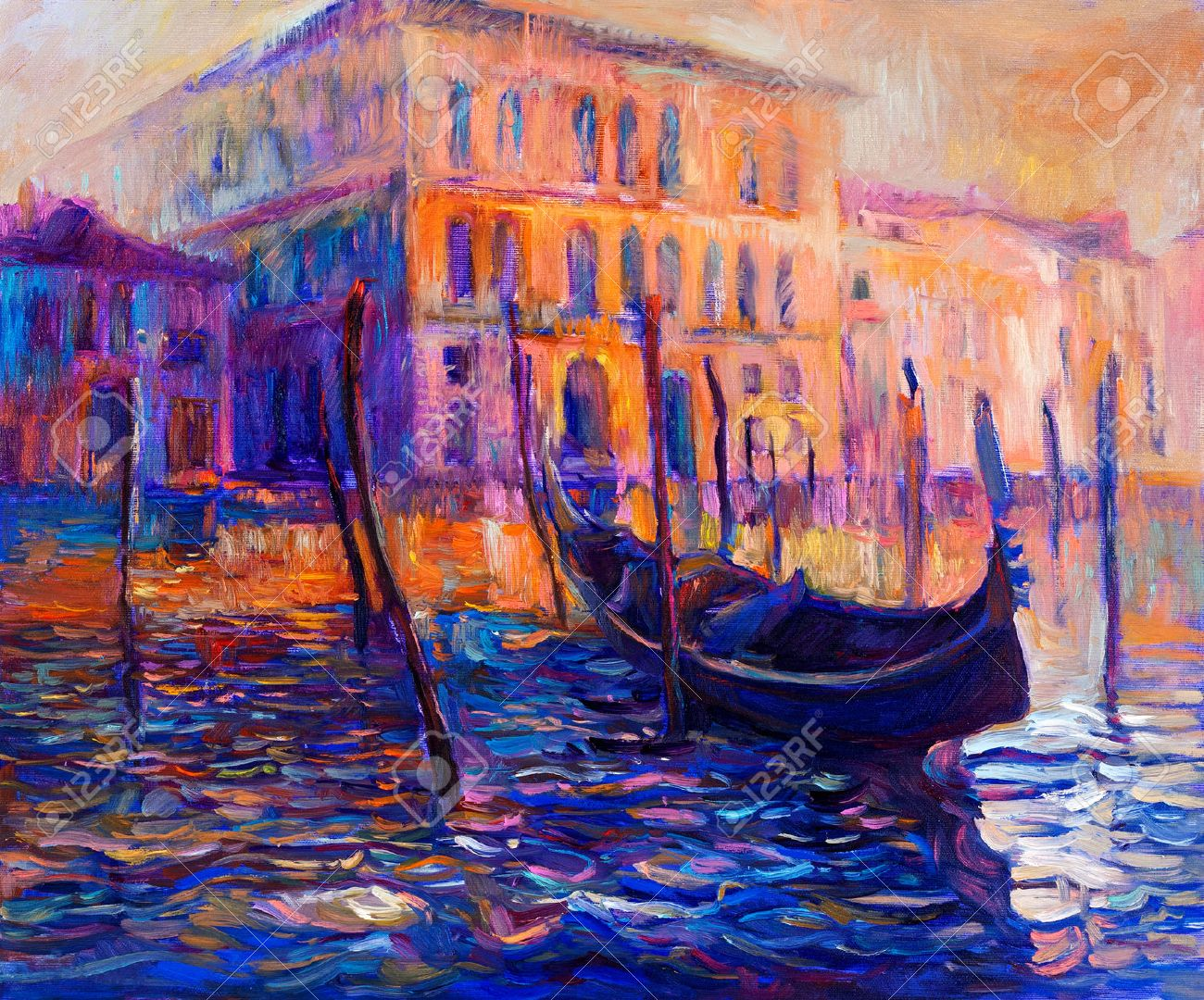 Original oil painting of beautiful venice italy at sunset on canvas modern impressionism stock