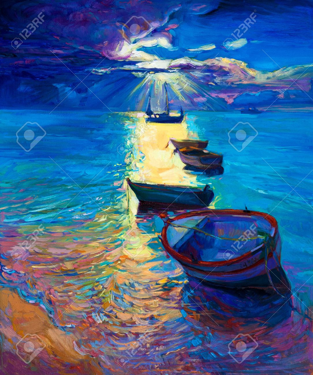 Original Abstract Oil Painting Of Fishing Boats And Sea On Canvas Sunset Stock Photo Picture And Royalty Free Image Image 26924634