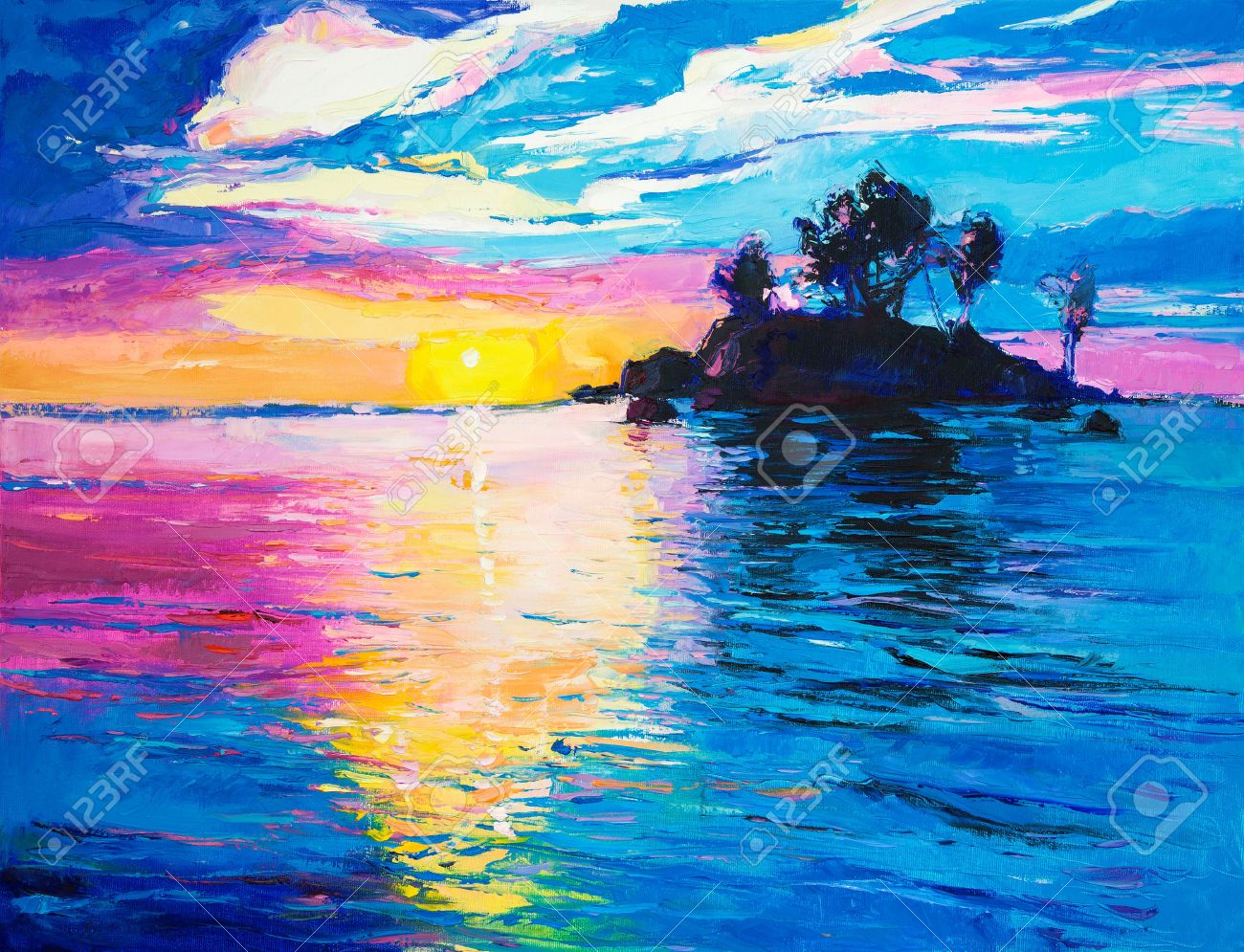 Original oil painting of lonely island and sea on canvas.Rich colorful Sunset over ocean.Modern Impressionism - 37791092