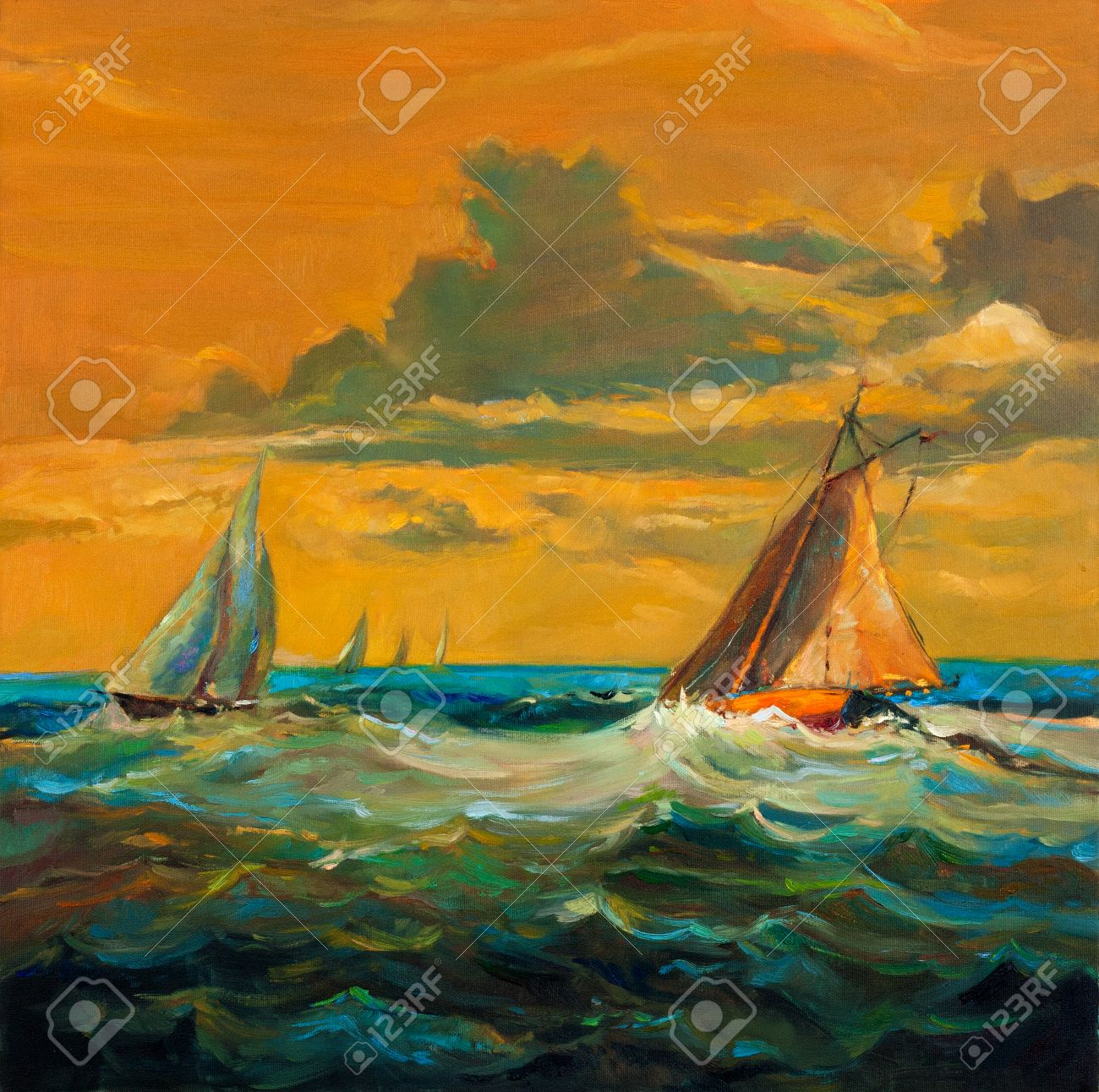 original oil painting of sailboats and sea on canvas rich golden