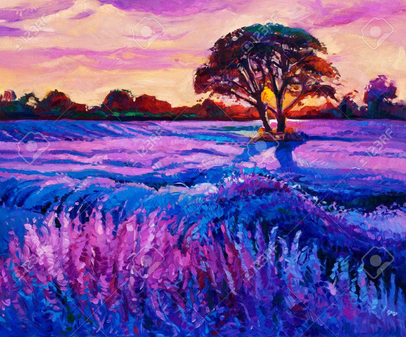 Original Oil Painting Of Lavender Fields On Canvas Rich Purple Sunset Landscape Modern Impressionism Banco De Imagens Royalty Free Ilustracoes Imagens E Banco De Imagens Image 37791118
