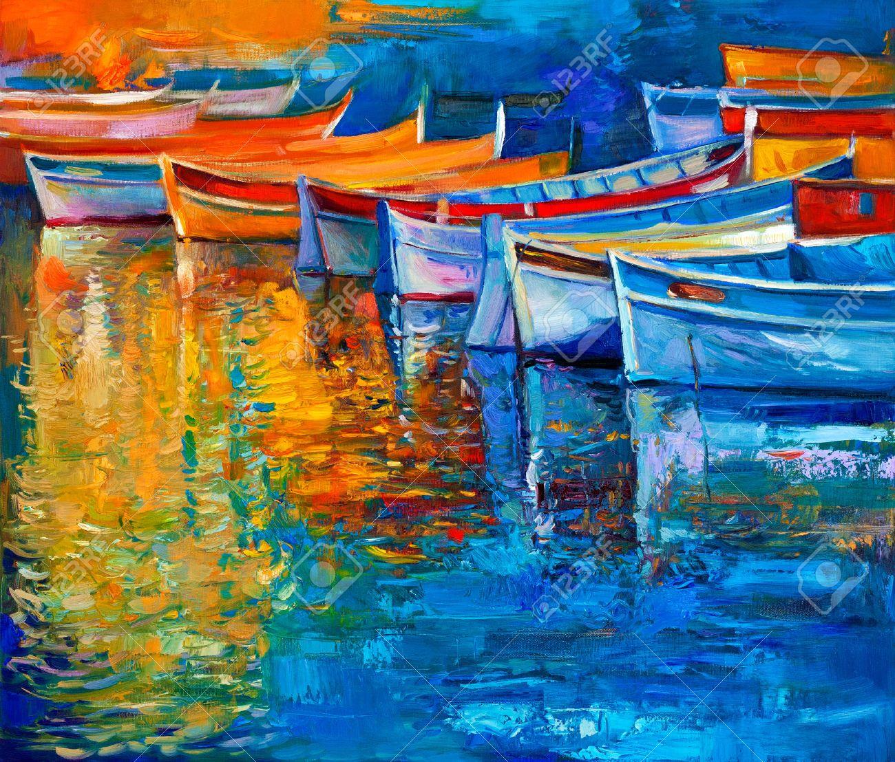 photo  la peinture a l huile originale de bateaux et jetee quai sur toile coucher soleil ocean mo
