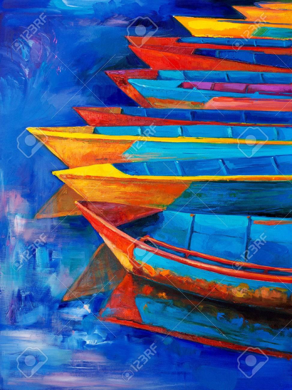Exceptionnel La Peinture à L'huile Originale De Bateaux Et Jetée (quai) Sur La  LQ74