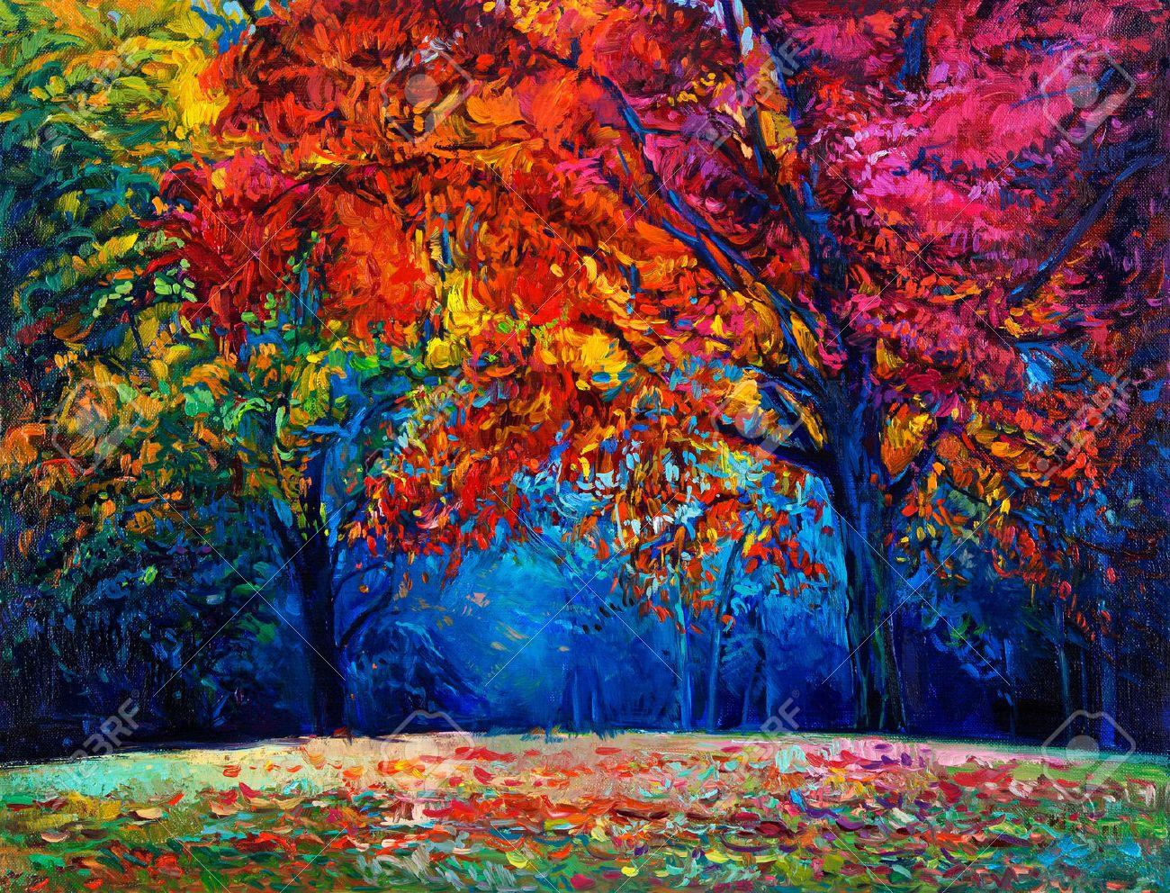 ursprngliches lgemlde die schne herbstwald auf leinwand moderne impressionismus lizenzfreie bilder 37927033 - Moderne Bder