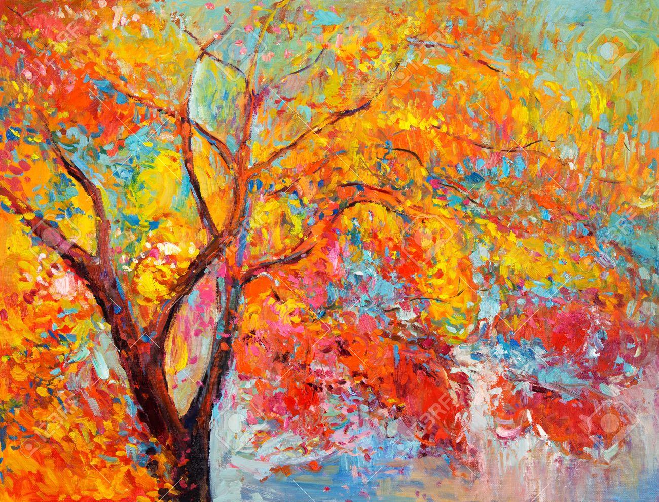 Ursprüngliches Ölgemälde, Die Schöne Herbstbaum Auf Leinwand ...