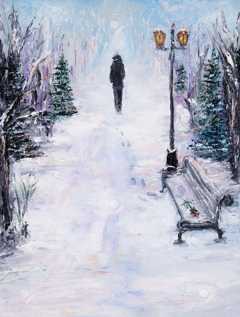 Resultado de imagen para pintura de hombre en el invierno