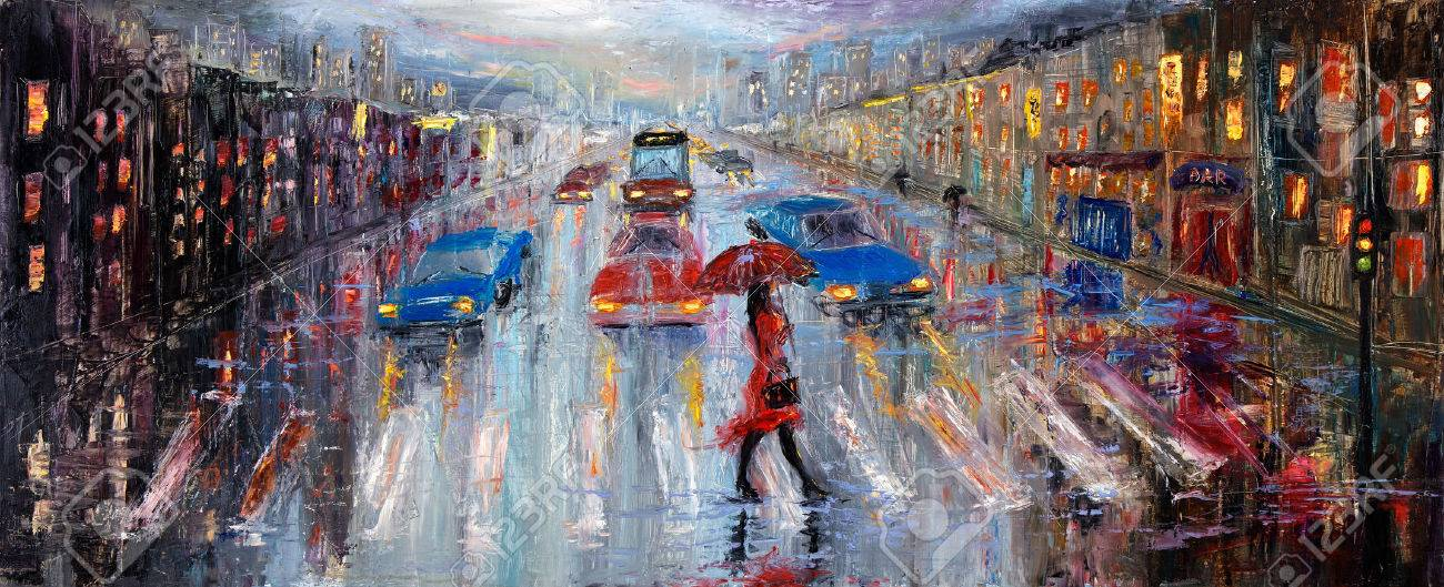 Original oil painting showing beautiful young woman in red,holding red umbrella crossing the city street on canvas. Modern Impressionism, modernism,marinism - 51796515