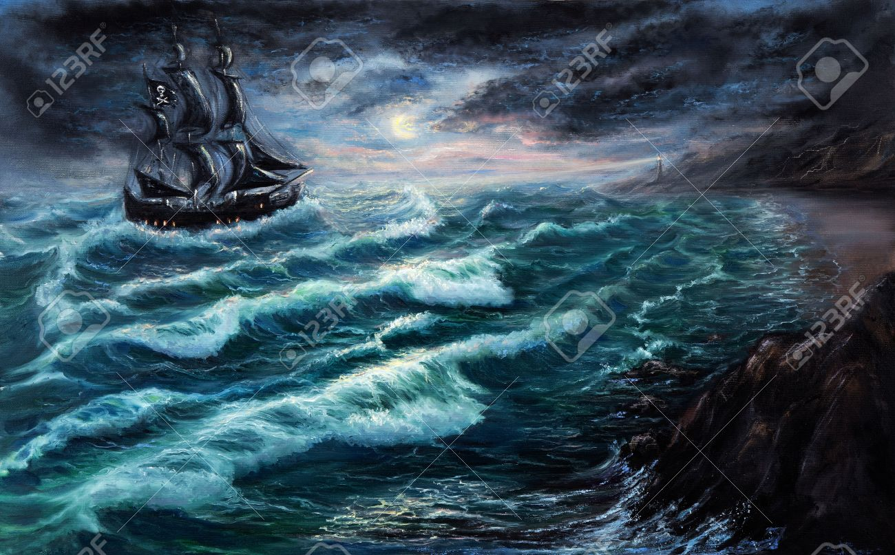quality design 7bfb1 098e9 Original oil painting showing pirate ship in stormy ocean..