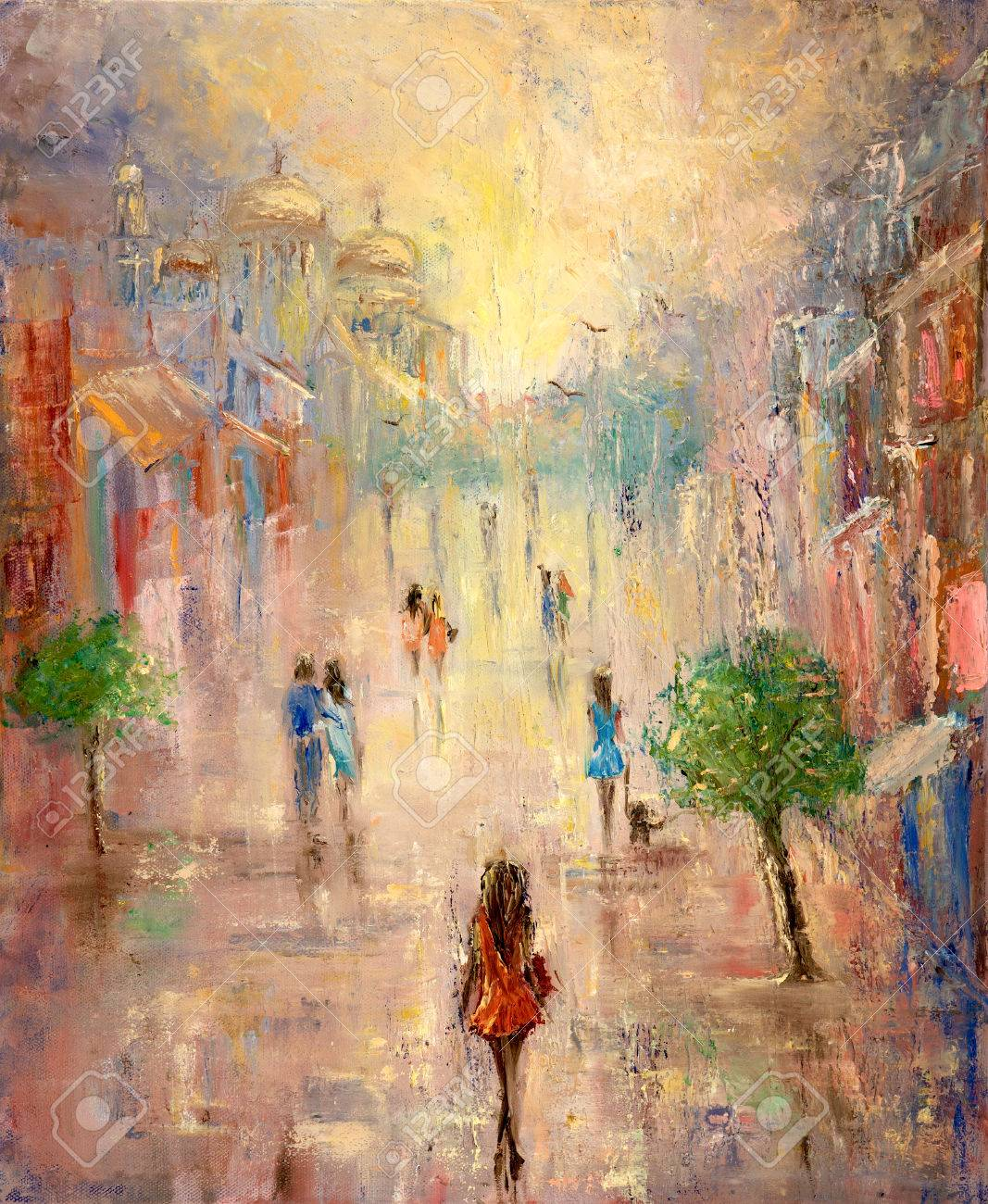 Abstract Painting Of People Having A Walk On City Street On Canvas Modern