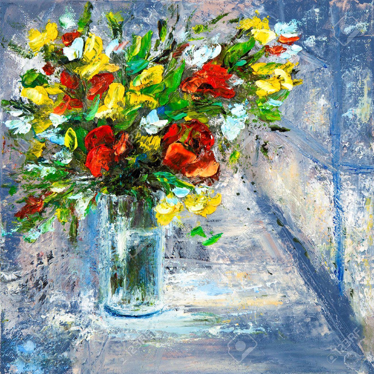 Original Oil Painting Of Beautiful Vase Or Bowl Of Fresh Flowers