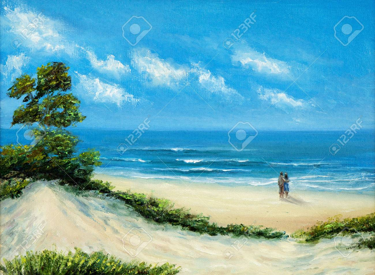 original oil painting of ocean and beach on canvas young couple