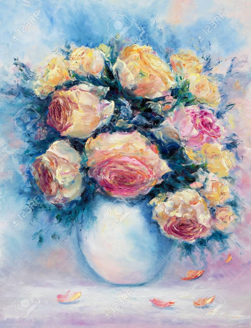 Original Oil Painting Of Beautiful Vase Or Bowl Of Fresh Roses