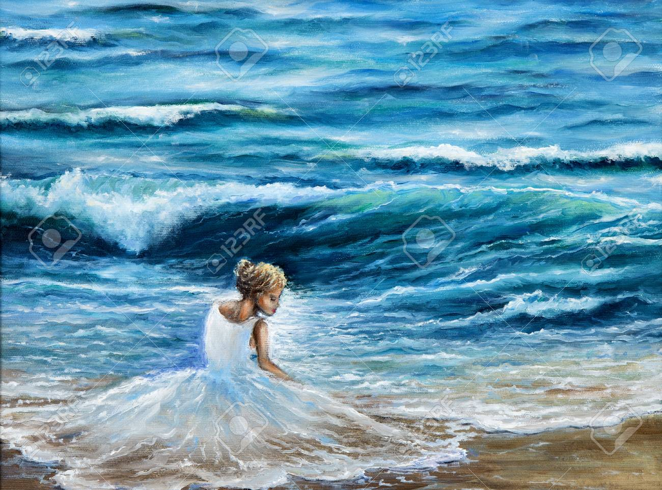 check out 48f03 40b7b Original oil painting showing waves in ocean or sea on canvas.Woman..