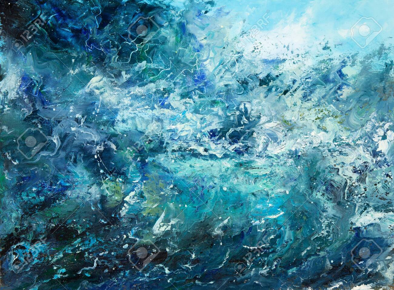 Original Abstract Oil Painting Showing Waves In Ocean Or Sea