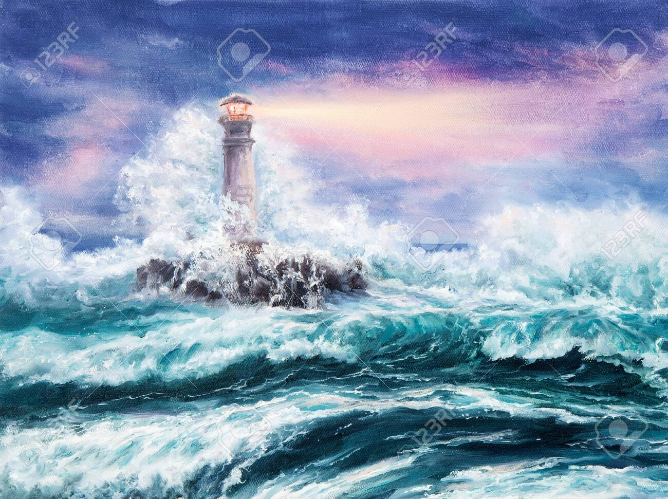 Original Oil Painting Of Lighthouse During Storm On Canvas Purple Stock Photo Picture And Royalty Free Image Image 140100904