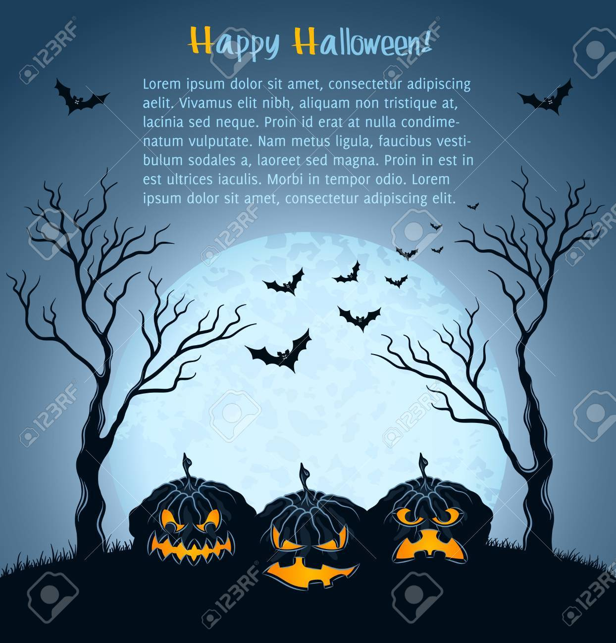 Halloween background with pumpkins, full moon and tree Stock Vector - 15330541