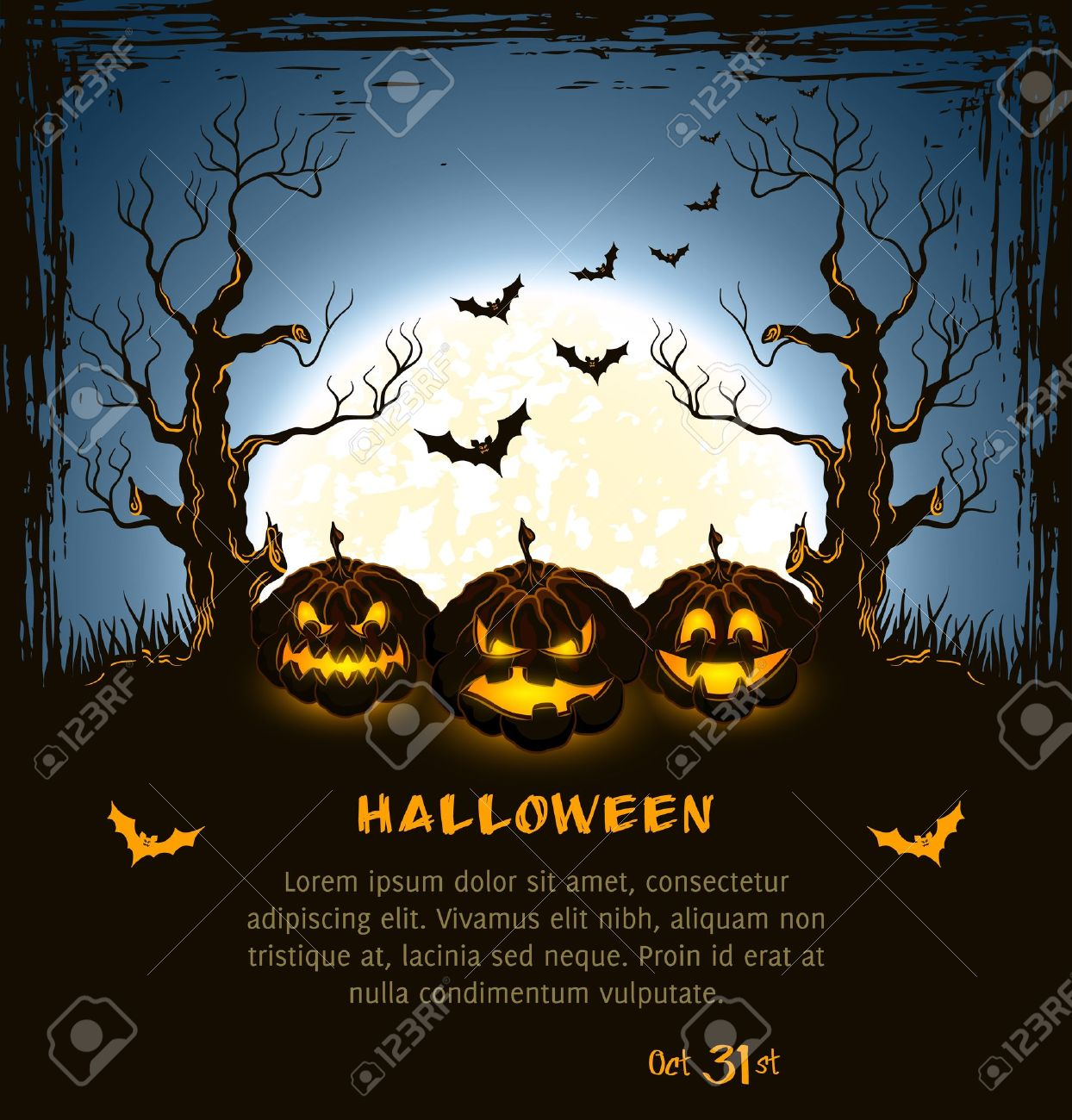 Blue grungy halloween background with spooky pumpkins, full moon, trees and bats Stock Vector - 15362619
