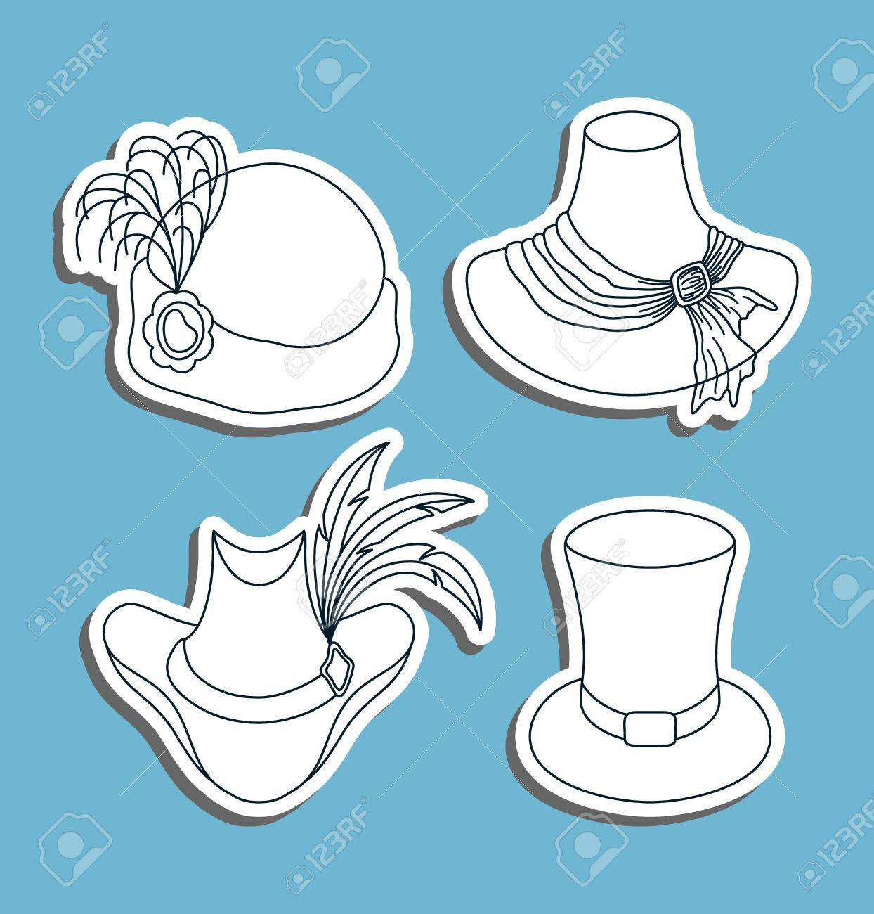 Set of hats in a graphic style  Illustration Stock Vector - 15482726