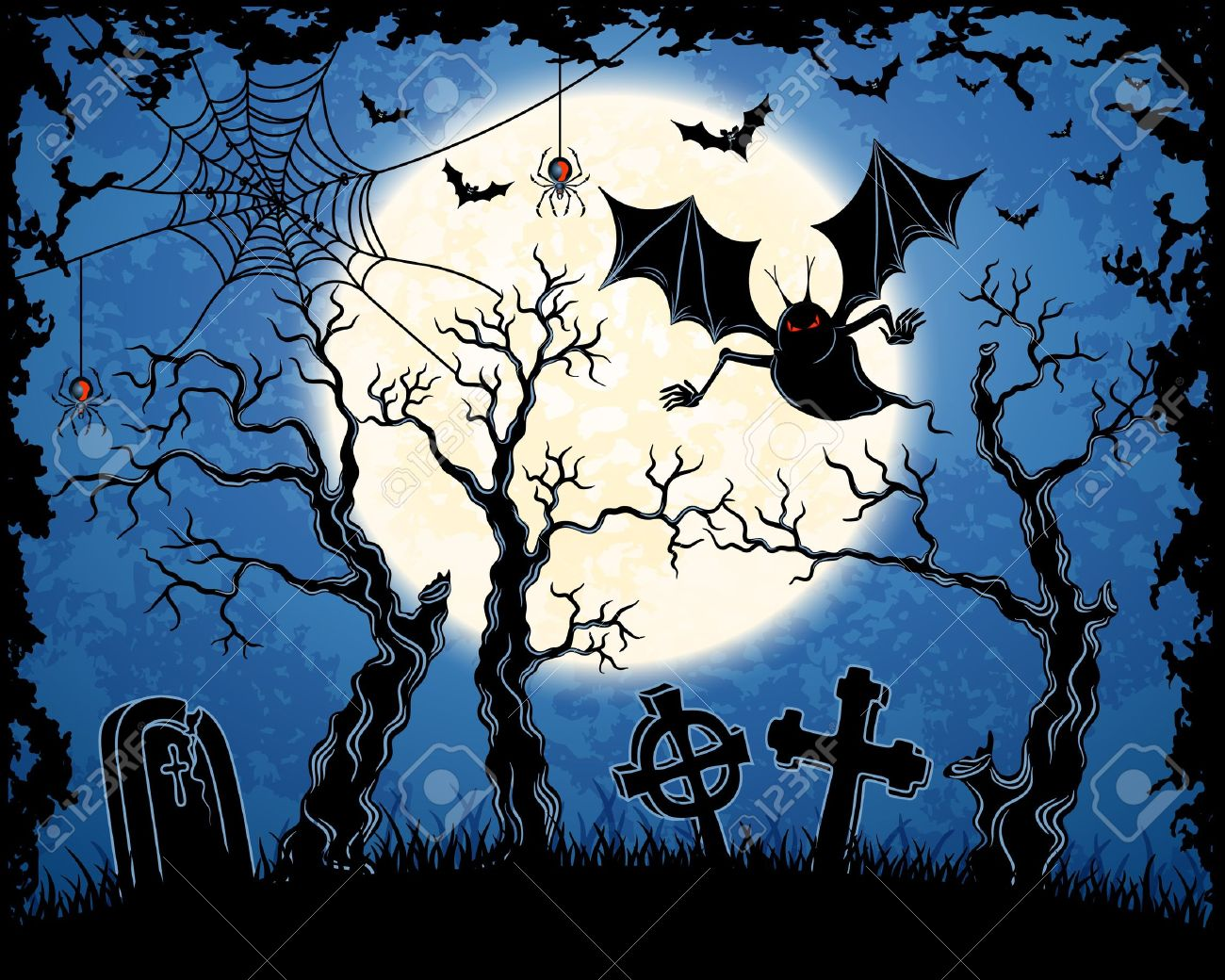 Spooky vampire on cemetery. Blue grungy halloween background.  Illustration. Stock Vector - 15657462