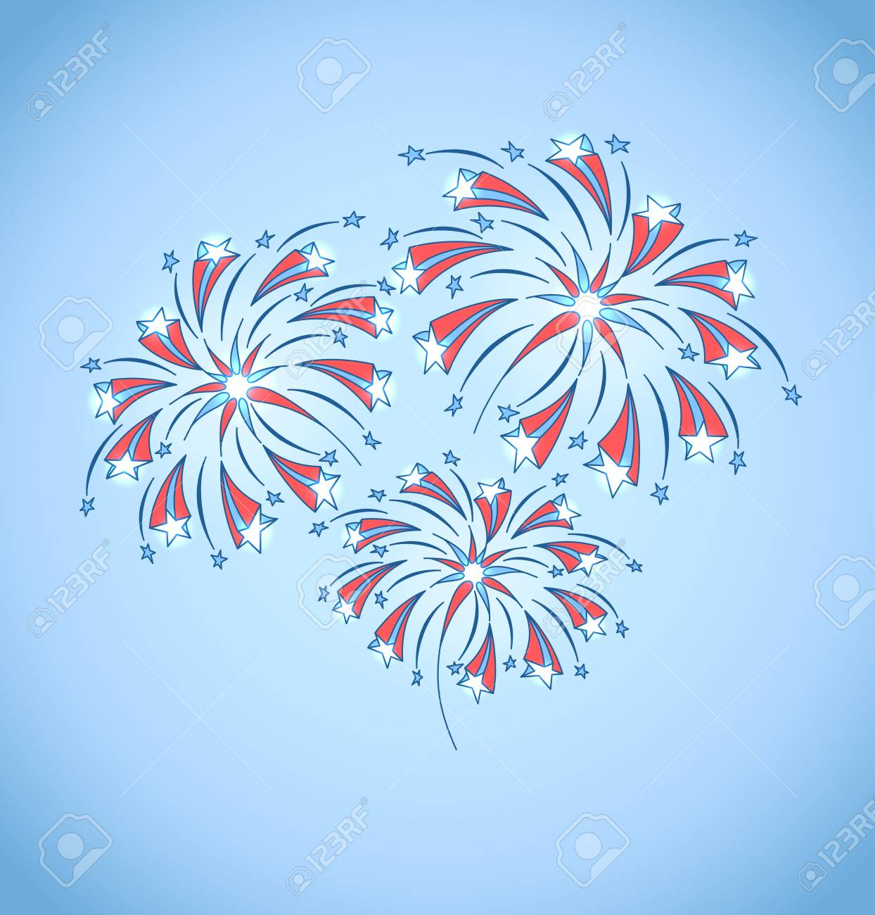 Background with festive fireworks in honor of Independence day  Vector Illustration Stock Vector - 20371283