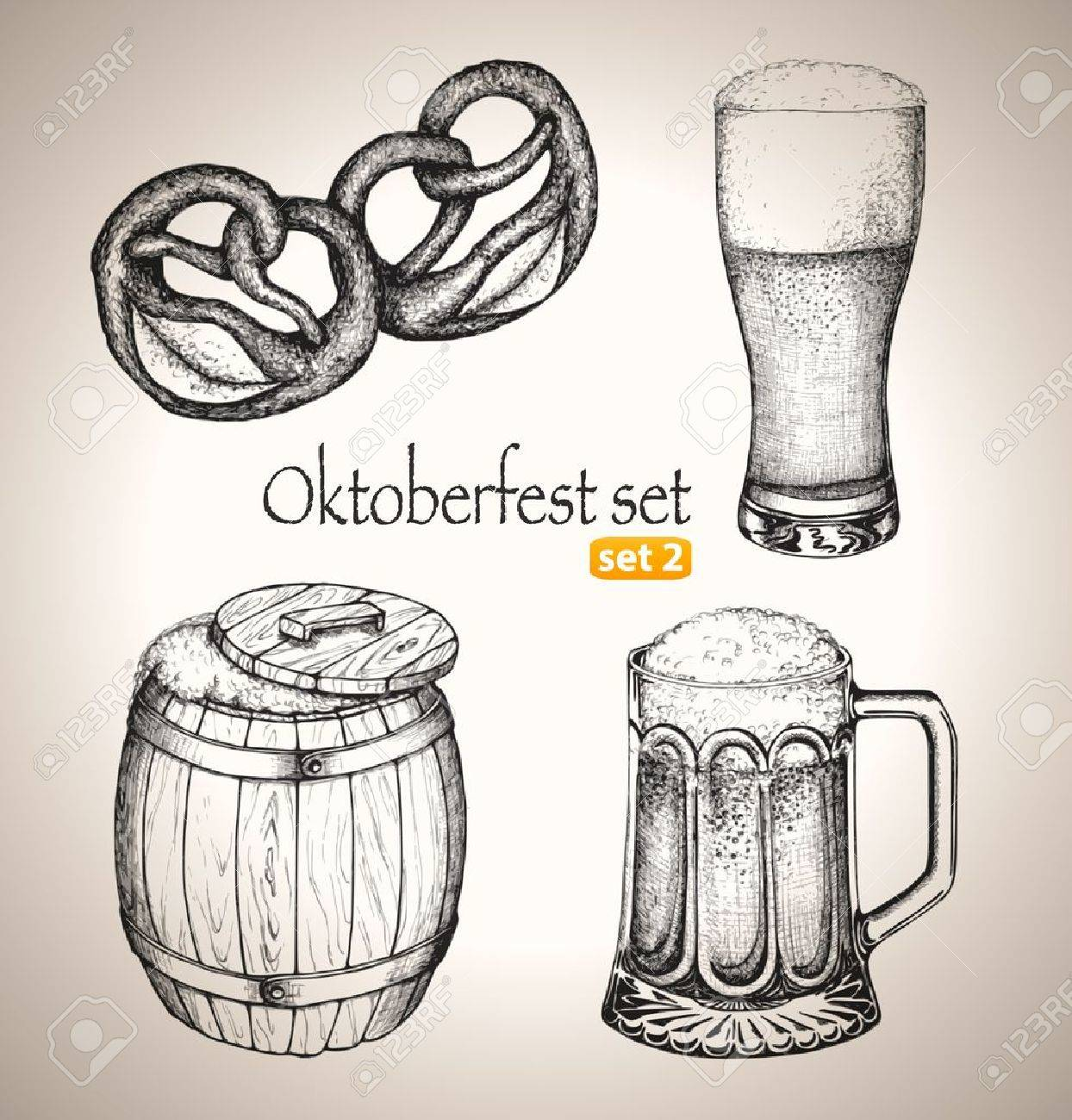 Beer Pencil Drawing Beer Set Sketch Elements For