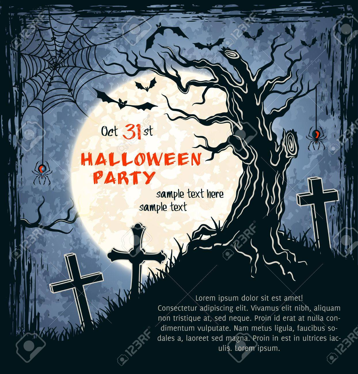 Captivating Spooky Card For Halloween. Blue Background With Clumsy Tree, Full Moon,  Tombstones And