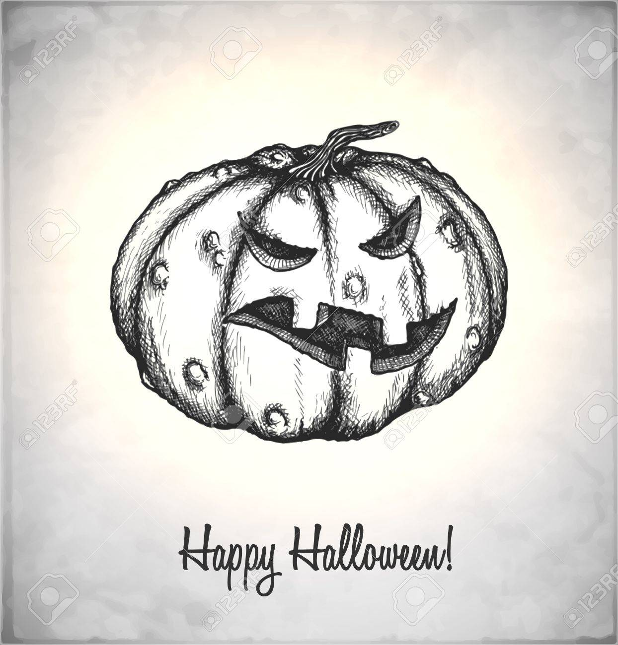 Scary Jack O Lantern. Pumpkin in a sketch style. Hand-drawn card for Halloween. Vector illustration. Stock Vector - 22100215