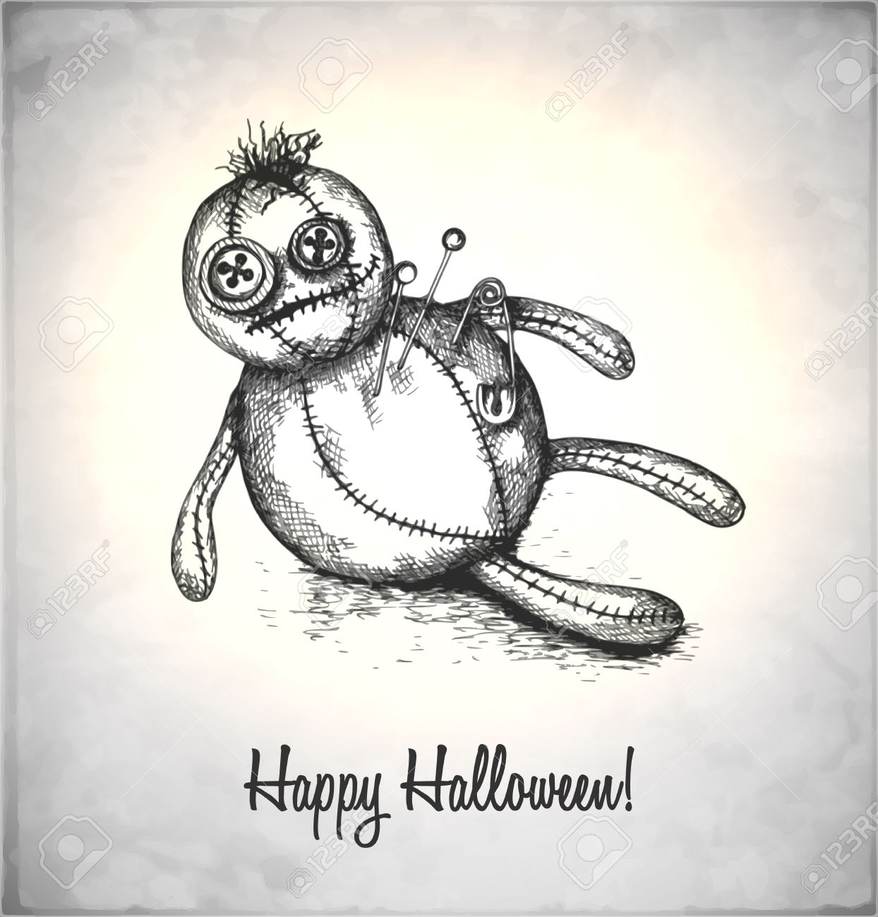 Spooky voodoo doll in a sketch style. Hand-drawn card for Halloween. Stock Vector - 22309948